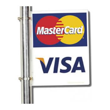 Outdoor Aluminum credit card logo sign