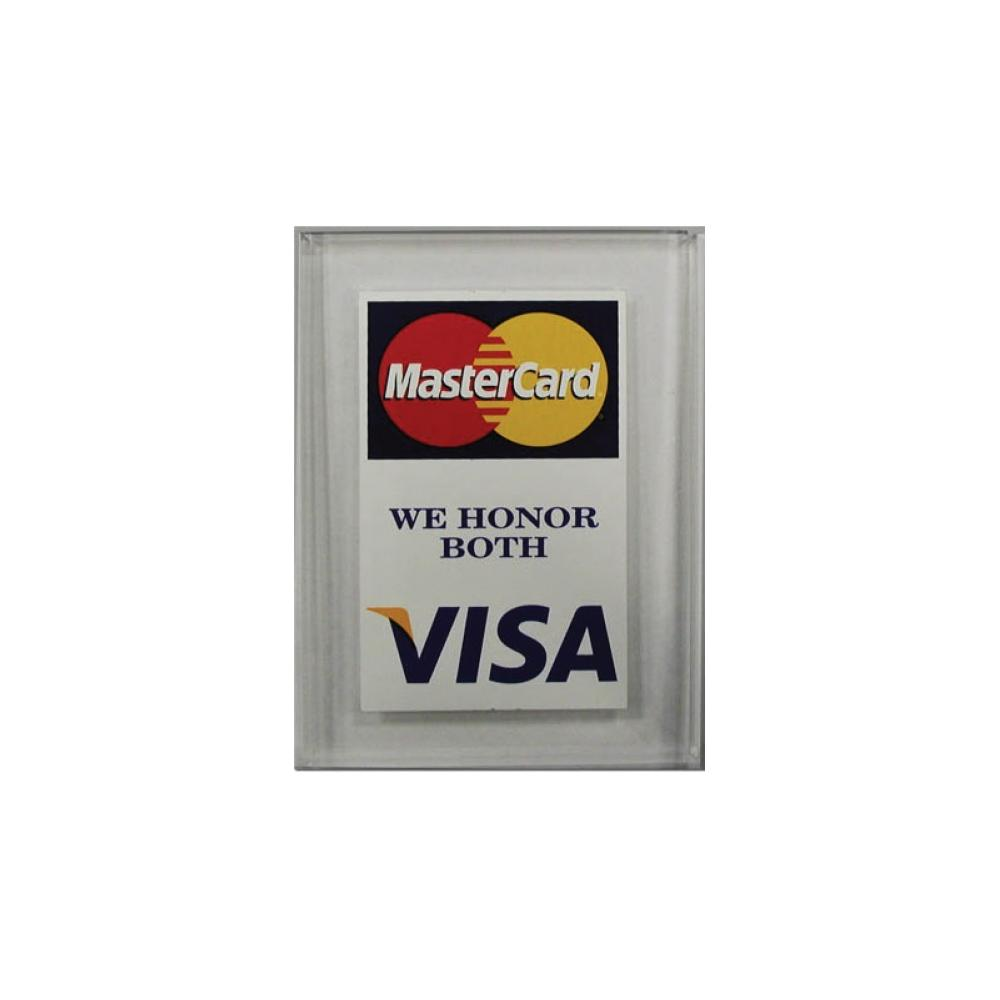 Lucite Visa MasterCard sign one sided